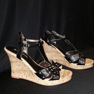 Black Studded Cork Wedge Heels